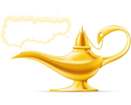 genio de la lampara: Aladdin lámpara mágica Vectores