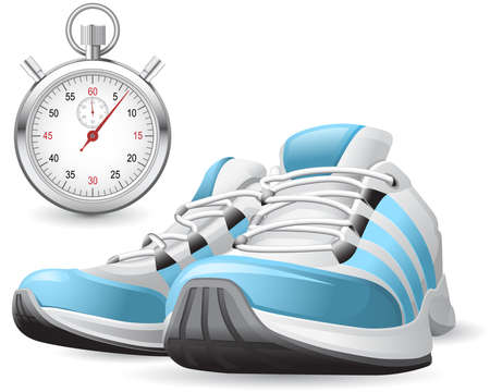 sports shoe: Running Shoes and stopwatch Illustration