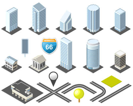 Isometric map toolkit downtown Vector