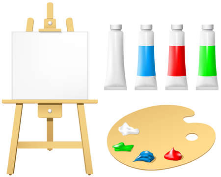 paint tube: Easel with blank board and palette