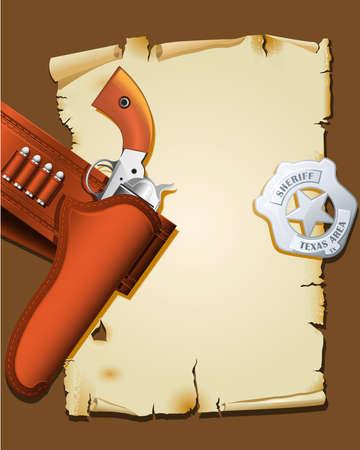 sheriff badge: Cartel del salvaje oeste con arma de fuego y sheriff insignia