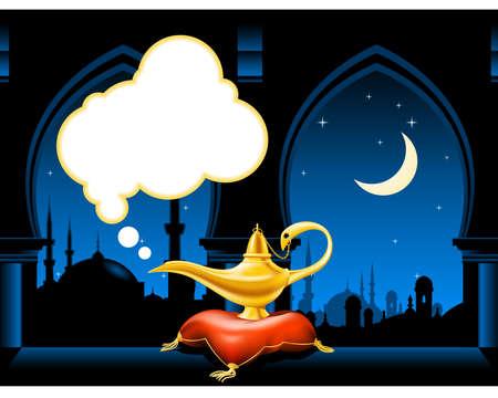 genio de la lampara: Lámpara mágica en el horizonte de la ciudad árabe y almohada Vectores