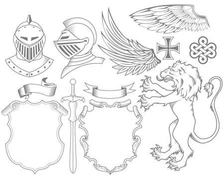 rycerze: Zestaw rycerskich elementy heraldyczne