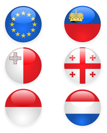 Europe flags buttons, part three Vector