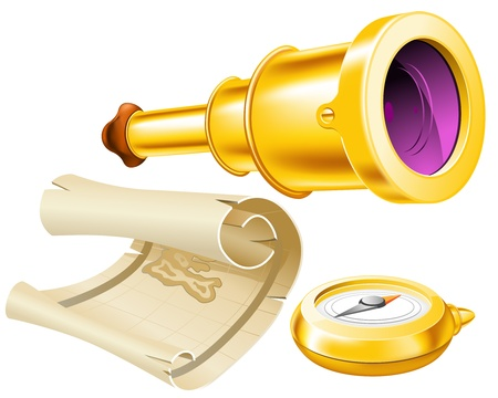Treasure map, telescope and compass Stock Vector - 12209371