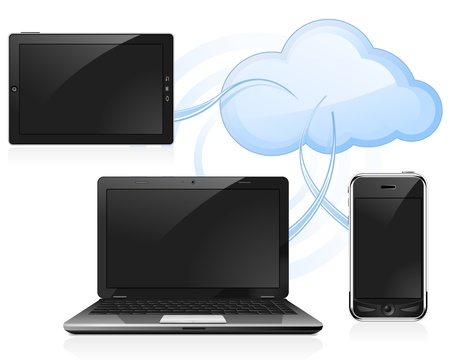 Cloud computing - digital tablet, laptop and smart phone Illustration