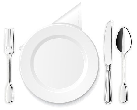 empty plate: Plate, knife, spoon and fork