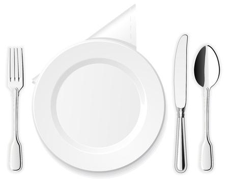 dinner setting: Plato, cuchillo, cuchara y tenedor Vectores