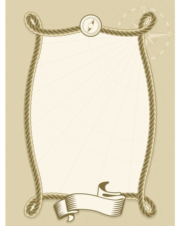 Rope frame with ribbon and wind rose Stock Vector - 12406934