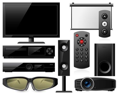 speaker system: Inicio equipo de cine en 3D con gafas y un proyector Vectores