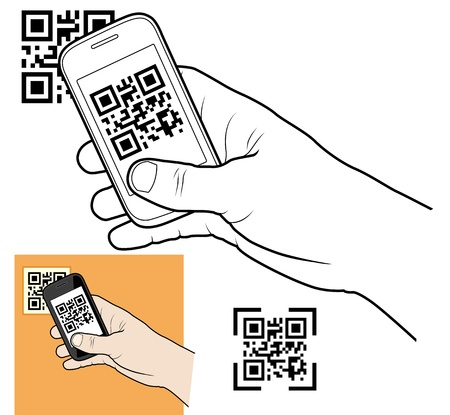 Hand with smart phone taking QR code Vector