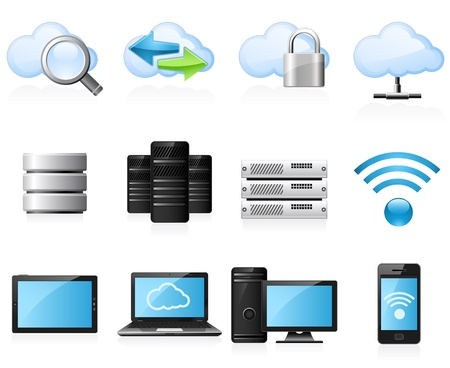 network security: Cloud computing icons
