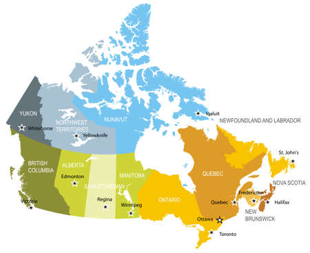 quebec: Map of provinces and territories of Canada