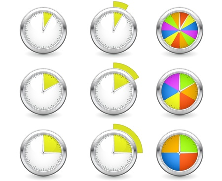Set of timers with different time interval Stock Vector - 13322303