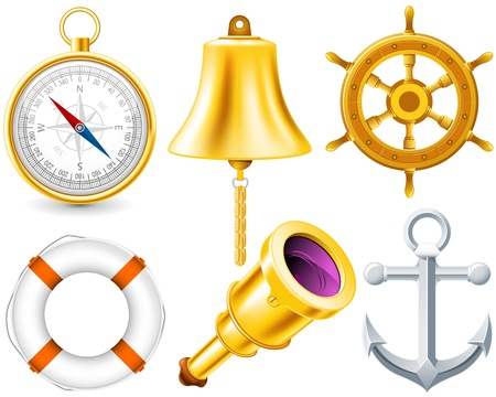 compass rose: Nautical elements set made with gradient mesh