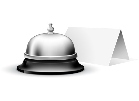 service bell: Service bell with blank welcome card, made with gradient mesh Illustration
