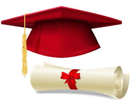 Red graduation cap, mortarboard and diploma scroll, made with gradient mesh