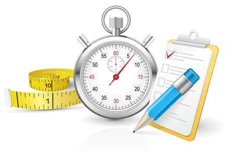 Stopwatch with clipboard and tape measure partly made with gradient mesh Illustration