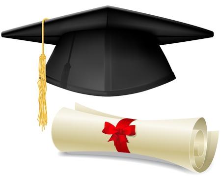 birrete: Casquillo de la graduación negro, birrete y el diploma de pergamino, hecho con malla de degradado Vectores