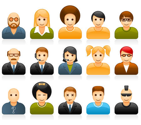 user profile: Glossy people avatars with different style and hairdo