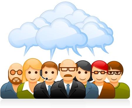 lluvia de ideas: El brainstorming de grupo de gente de negocios