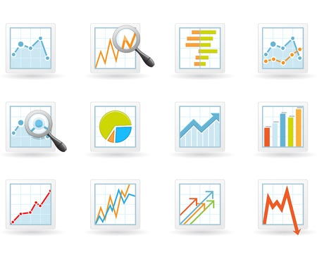 plot: Statistics and analytics icons with charts and diagrams