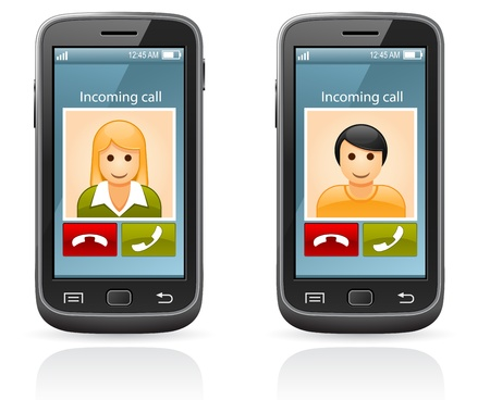 Smart Phone - incoming call and photo of friend Stock Vector - 14446155