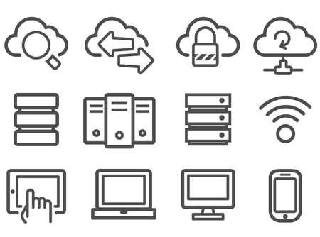 icono computadora: La computación en nube y el conjunto de equipos de red icono de