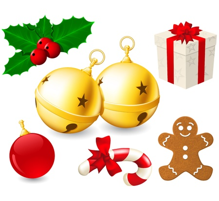 Jingle Bells en kerstversiering Stock Illustratie