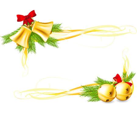 campanas: Cascabeles y esquinas decorativas de Navidad Vectores