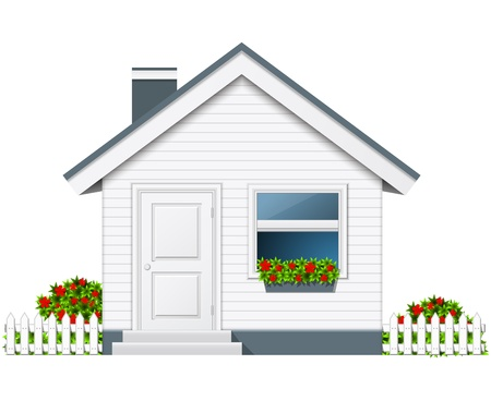 Small counrty house with porch and flue Stock Vector - 17583676