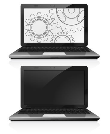Open laptop with gears on the screen Stock Vector - 17583667