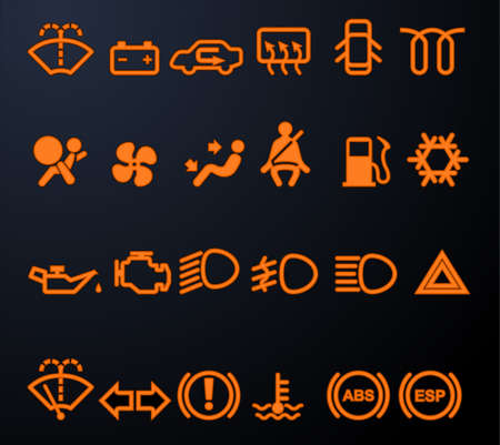 pressure gauge: Illuminated car dashboard icons Illustration