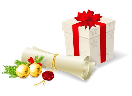 Christmas card with paper scroll wishlist, gift and bells  Vector