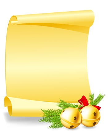 wishlist: Christmas greeting card - paper scroll wishlist with bells