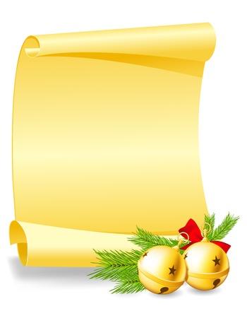 wishlist: Christmas greeting card - paper scroll wishlist with bells