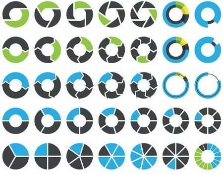 sectors: Pie charts and circular graph infographic kit Illustration