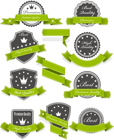 Seals and medals with ribbons - set of blank emblems Stock Vector - 24590460