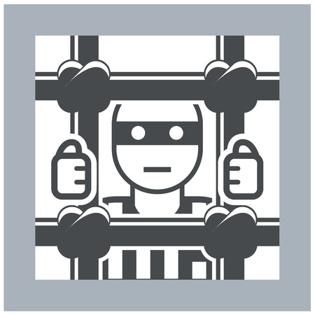 inmate: Prisoner behind bars - criminal in jail, simple icon