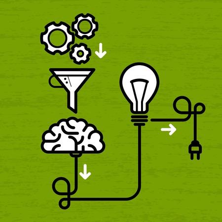 plug electric: Mecanismo de la invenci�n con la bombilla, el cerebro y el enchufe el�ctrico