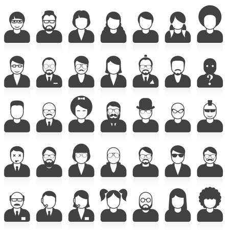 hairdo: People avatars and userpics in different style and hairdo Illustration