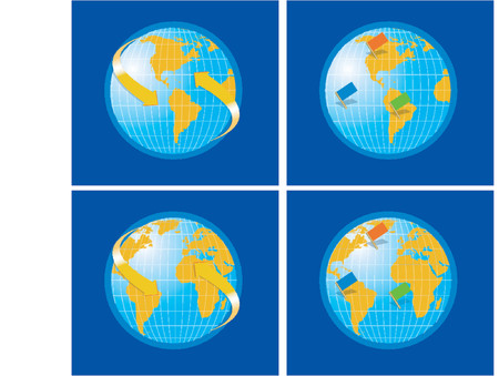 stern: Vector Globe World Map with flags and arrows