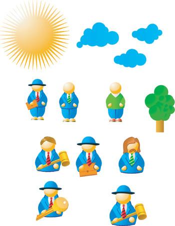 auction gavel: Business Icons Set Illustration