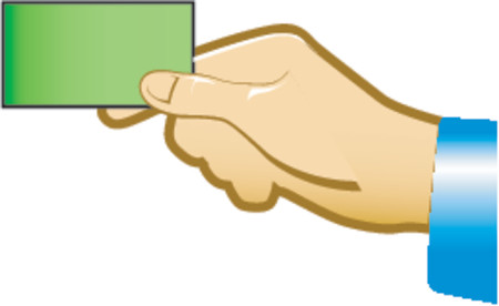 hold up: holding blank business card