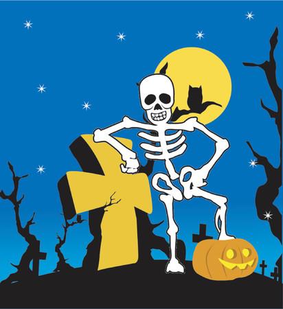 Halloween skeleton with cross Illustration