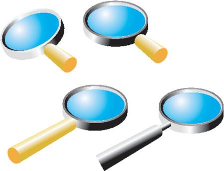 foreshortening: 4 magnifiers (vector)