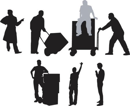 lifting: Workshop workers with barrows Illustration