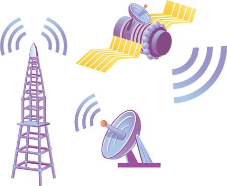 broadcasting: Satellite - telecomunicaciones  Vectores