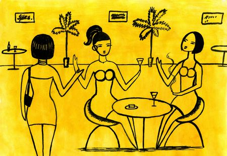 stuffy: Cafe - three women in Cafe