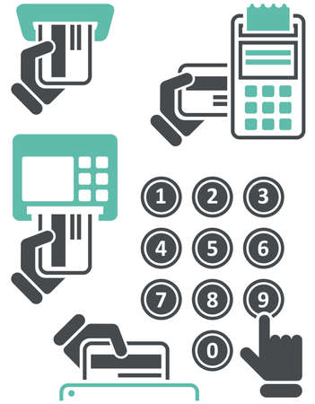 bankomat: ATM keypad and POS-Terminal - simple icons of hand with credit card